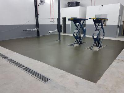 Epoxy Coating On Moisture Barrier System, Mazda Workshop, Batam Leaps Penang