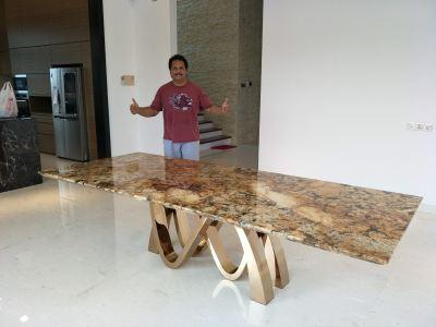 Granite Dining Table From Brazil -  Chocolate Gold Granite