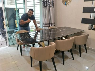 Black Marble Dining Table From Italy - Portoro Gold Marble