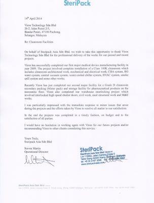 Customer's Testimonial (Steripack Asia Sdn Bhd)