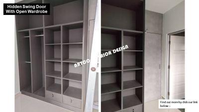 Hidden swing door with open wardrobe