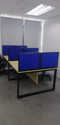 Workstation with full fabric desking panel