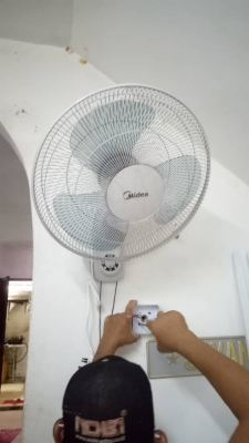 install wall fan and replace damaged switch socket