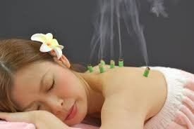 Moxibustion with mugwort herbs therapy