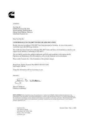 CUMMIN CES20077  Approval