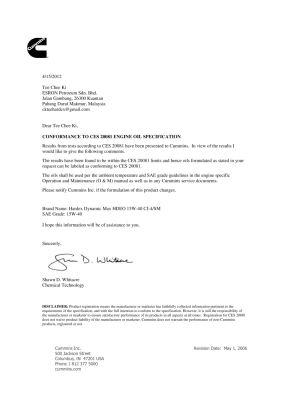 CUMMIN CES20081  Approval