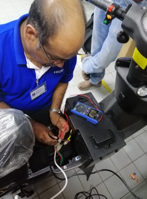 On site testing Electrical motor battery
