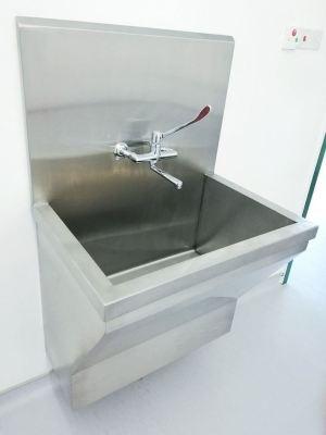 Stainless Steel Scrub Sink with High Backsplash