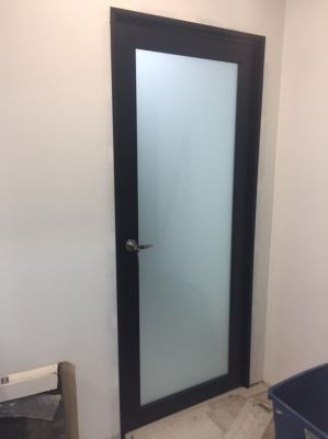 swing doors ( black) with Frosted