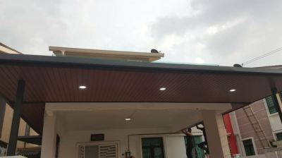Awning with ceiling stripe