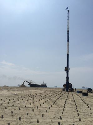 Installation of PVD for consolidation of soft layer below reclaimed fill in Johor