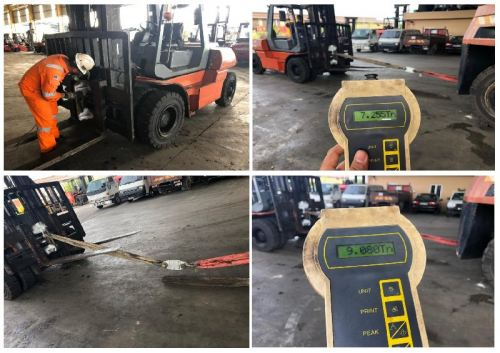 FORKLIFT PAD EYES LOAD TEST & MPI - CUSTOMER SUPERLIFT MACHINERY SDN BHD