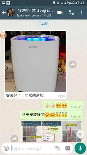 Air Purifier Filter Cuckoo C Model monthly Rental installed at Kepong, KL.