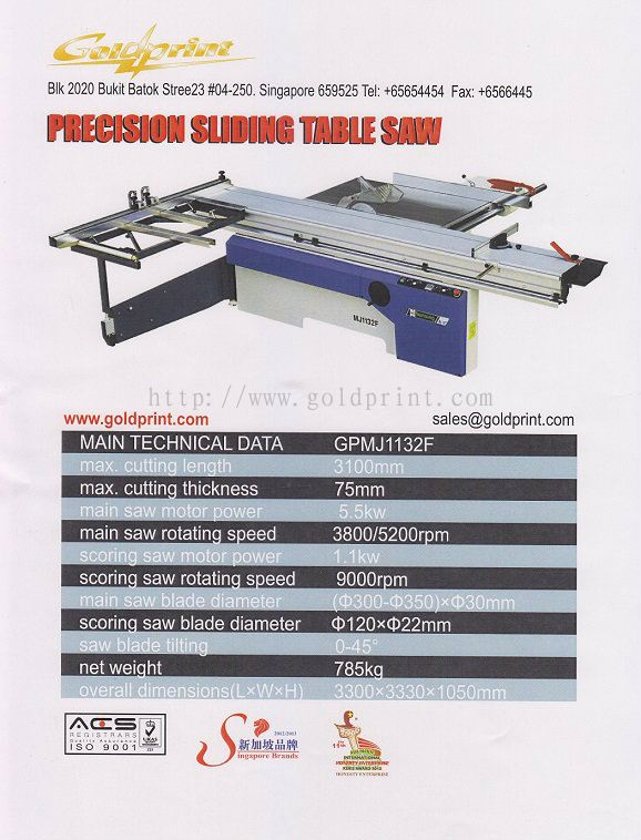 Goldprint Enterprise Pte Ltd:Sliding Table Saw