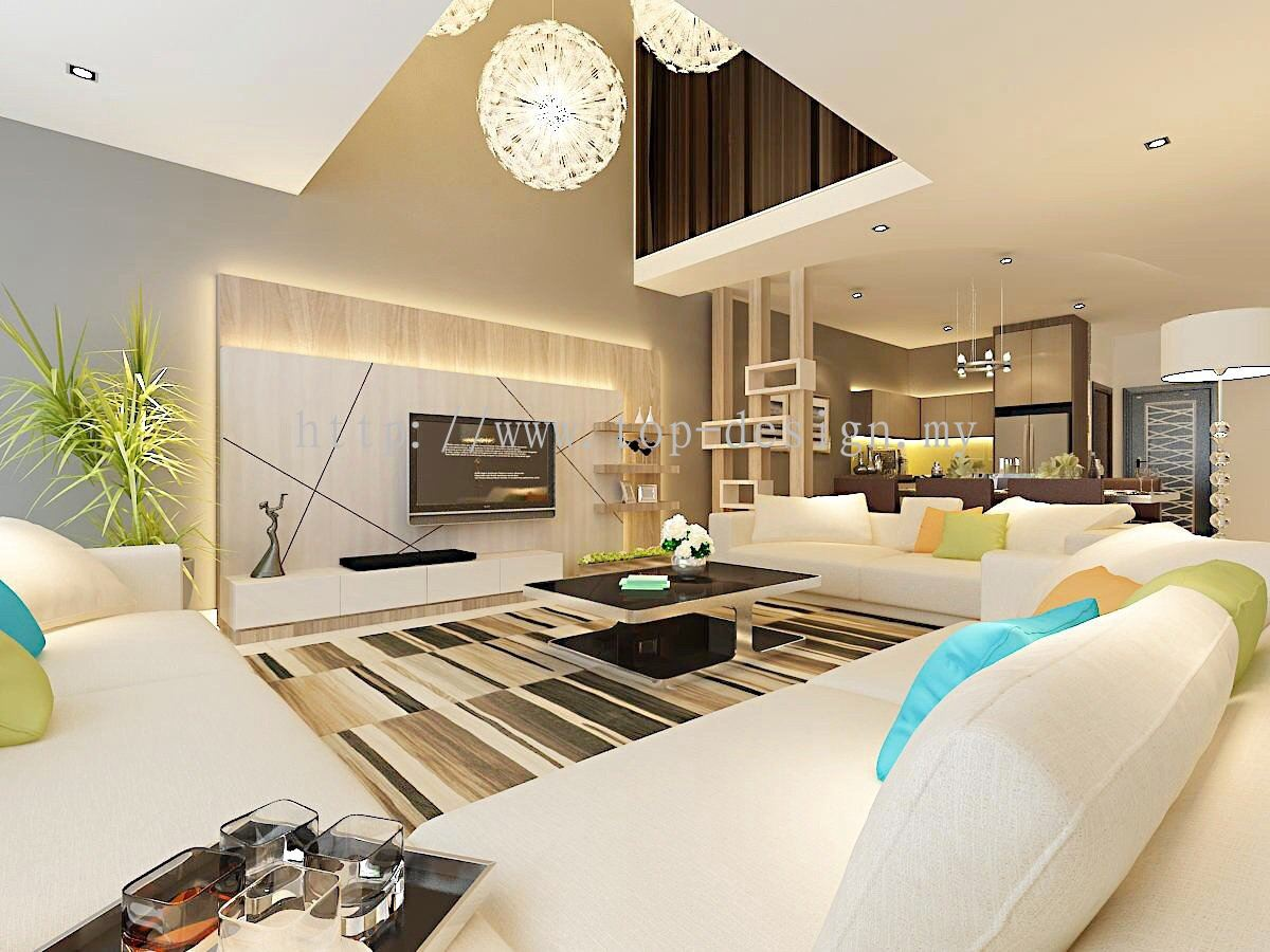 Johor 3 living hall design from top design renovation for Living hall design
