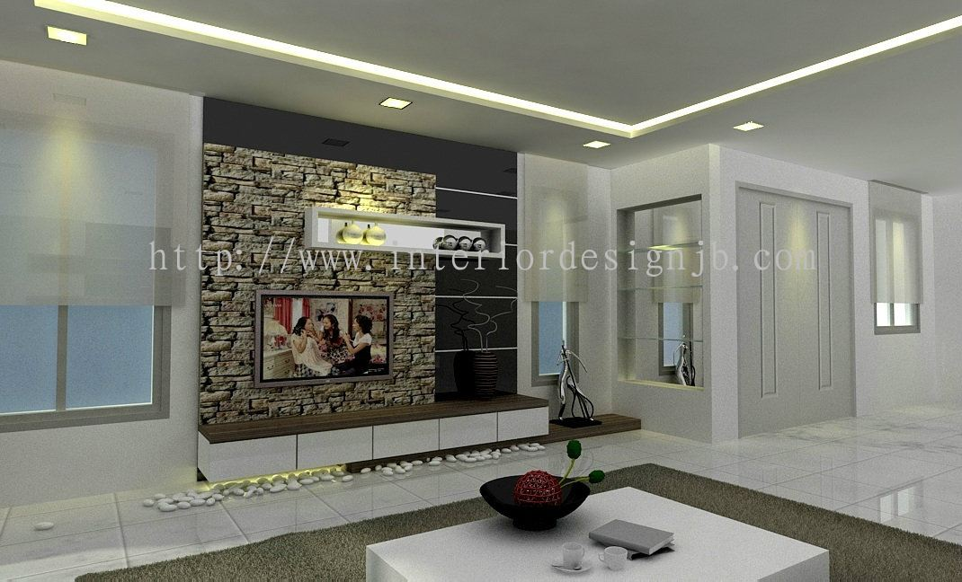 Johor living hall tv cabinet tv wall panel design for Tv cabinet designs for hall