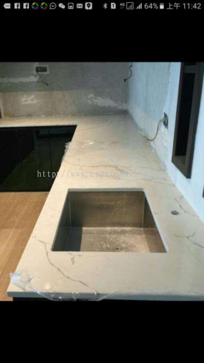 Johor Quartz Stone Kitchen Cabinet Table Top From Creato Venture M