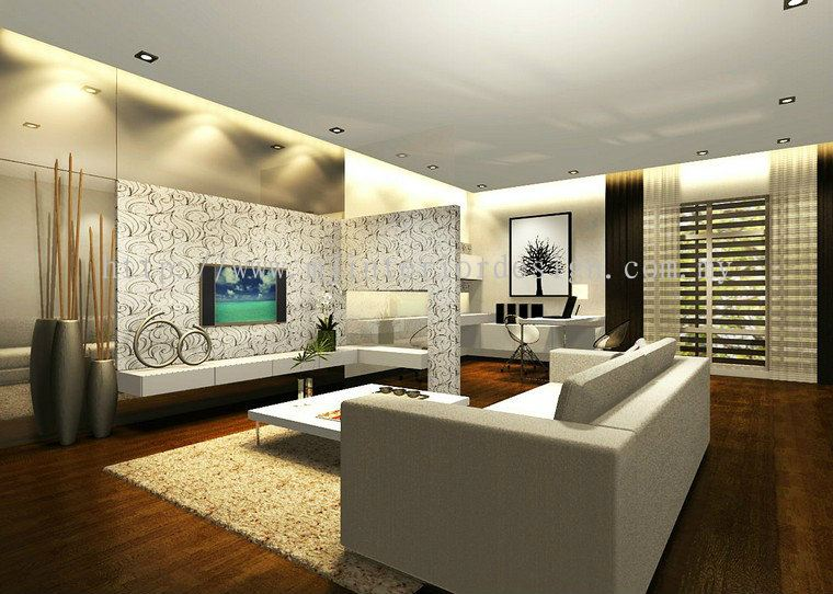 Penang family hall interior design daripada mj interior for Hall design for medium family