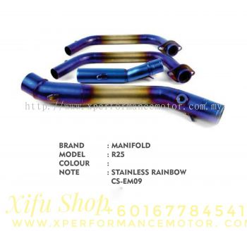 EXHAUST HEADER MANIFOLD RACING YAMAHA R25/R3 STAINLESS RAINBOW