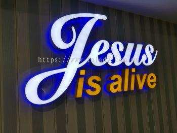 Jesus is alive 3D LED box up - Front lit colour sticker & Back lit blue lighting