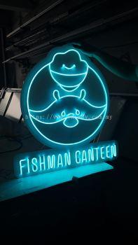 Fishman Canteen Neon Light Signage - light blue