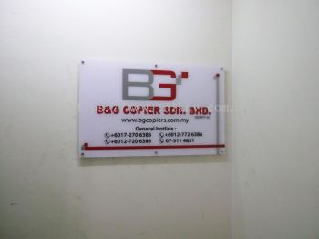 B&G 6mm acrylic bevel edge with front paste sticker 48in x 30in