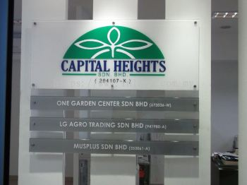 Capital Heights 6mm clear acrylic bevel edge and front sticker 48in x 20in and 4in x 3pcs