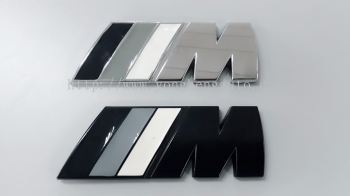 BMW M Sport/Tech Rear Boot Badge Emblem [Black/Chrome][Black/Gray/White]