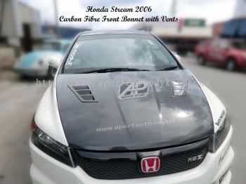 Honda Stream 2006 Carbon Fibre Front Bonnet with Vents