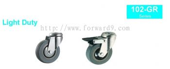 102-GR Series Bolt Hole Grey Rubber Castor Wheel