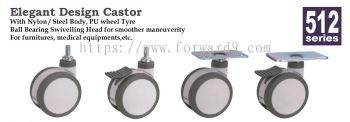 512 Series Thread Stem / Top Plate Medical Castor Wheel