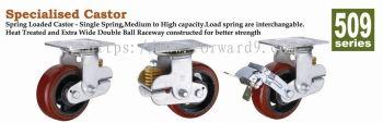 509 Series Top Plate Polyurethane Spring Loaded Castor Wheel