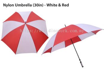 30in Nylon Umbrella White&Red