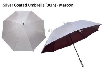 30in Silver Top Umbrella Maroon