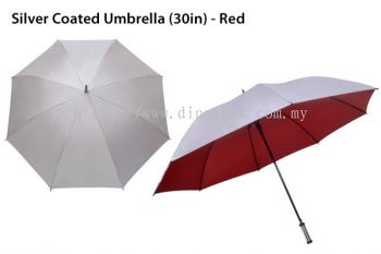 30in Silver Top Umbrella Red