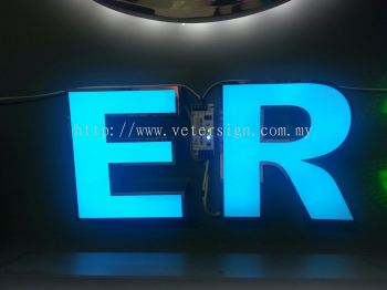 3D Lettering stainless steel box up with LED light