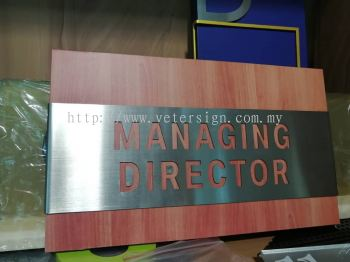 Stainless steel laser cut out wording door sign