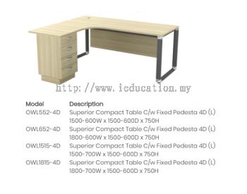 OWL552-4D Superior Compact Table C/w Fixed Pedesta 4D (L)