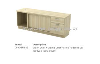 Q-YOSP1636Open Shelf + Sliding Door + Fixed Pedestal 3D