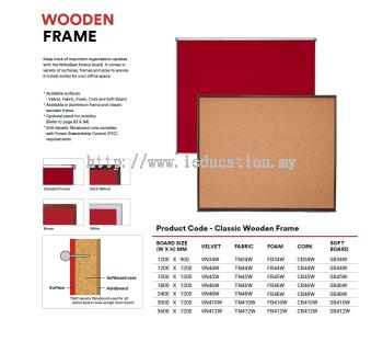 VN34W VELVET Notice Board - Classic Wooden Frame
