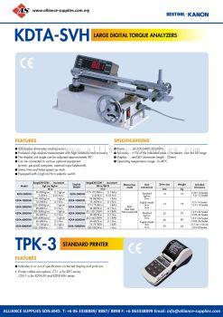 Kanon KDTA-SVH Large Digital Torque Analyzers And TPK-3 Standard Printer