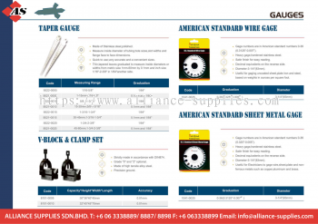 Taper Gauge / V-Block & Clamp Set /American Standard Wire Gage  / American StandardSheet Metal Gage