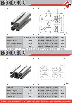 Aluminium Profile 40X40A / 40X80A