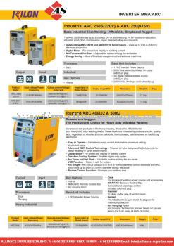 27.02.2 RILON INVERTER MMA/RC Industrial ARC 250S (220V) & ARC 250 (415V) / Rugged 400IJ2 & 500IJ