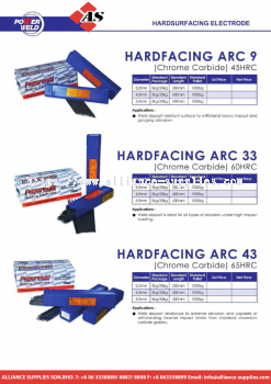 27.09.3 POWERWELD HARDSURFACING ELECTRODE HARDFACING ARC 9 / HARDFACING ARC 33 / HARDFACING ARC 43