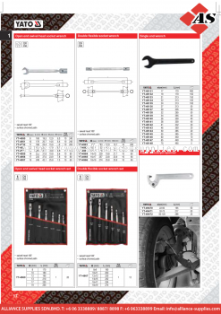 YATO Open End Swivel Head Socket Wrench / Double Flexible Socket Wrench / Single End Wrench