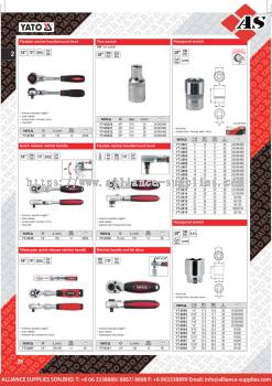 YATO Flexible Ratchet Handle / Round Head / Torx Socket / Quick Release Ratchet Handle