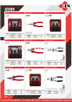 YATO Plier Sets / Long Nose / Side Cutting / Combination / Diagonal Side Cutting Pliers