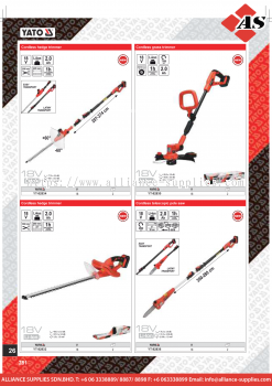 YATO Cordless Hedge Trimmer / Cordless Glass Trimmer / Cordless Telescopic Pole Saw