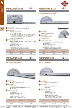Protractors/ Angle Protractor PRT-15/ PRT-19/ PRT-19SW/ PRT-19S/ PRT-30S/ PRT-101S/ PRT-300S/ PRT-400S/ PRT-600S/ PRT-1000S/ PRT-300SW/ PRT-400SW/ PRT-600SW/ PRT-1000SW